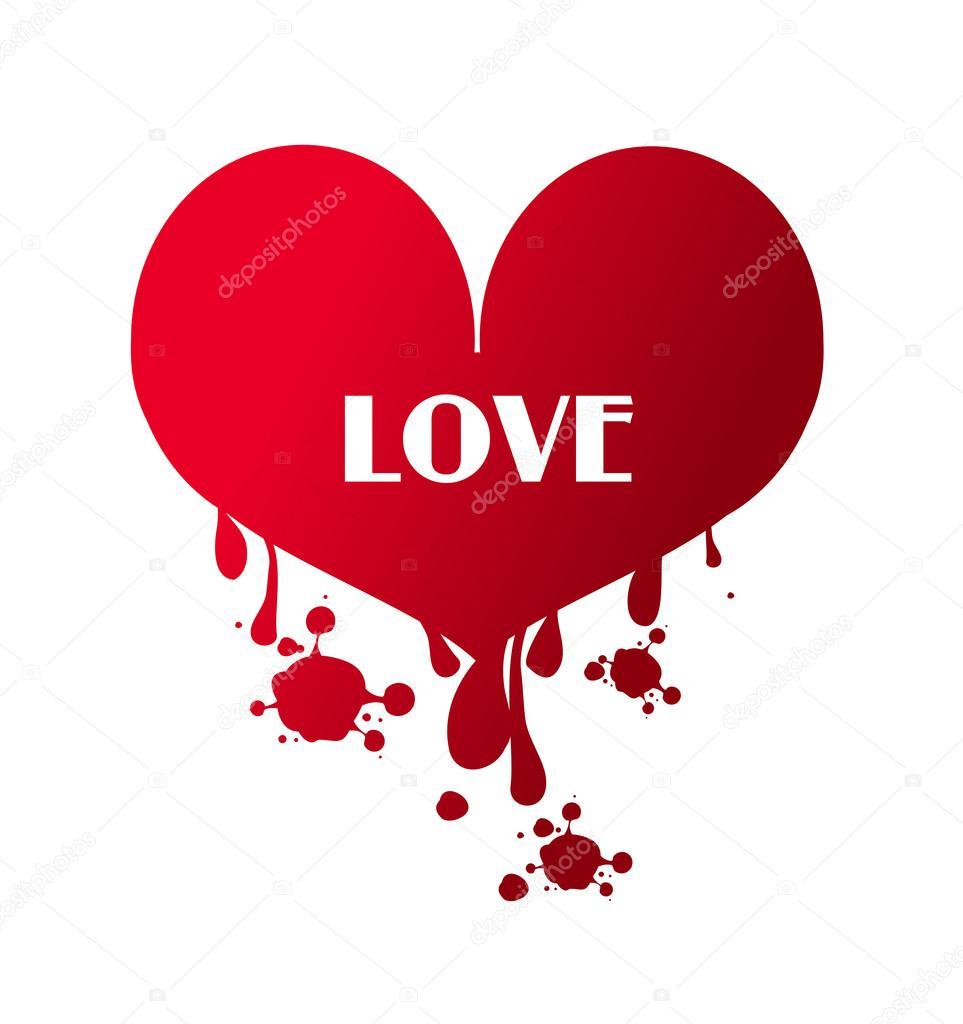 Love heart bleeding stock photo sidliks 96298338 illustration of big red bleeding heart with text love photo by sidliks buycottarizona