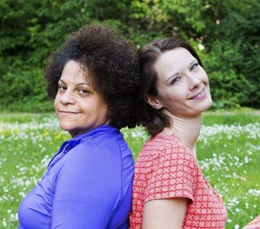 Two women in park