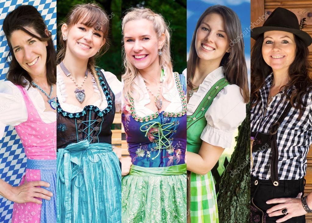 Group of women wearing bavarian dirndl — Stock Photo