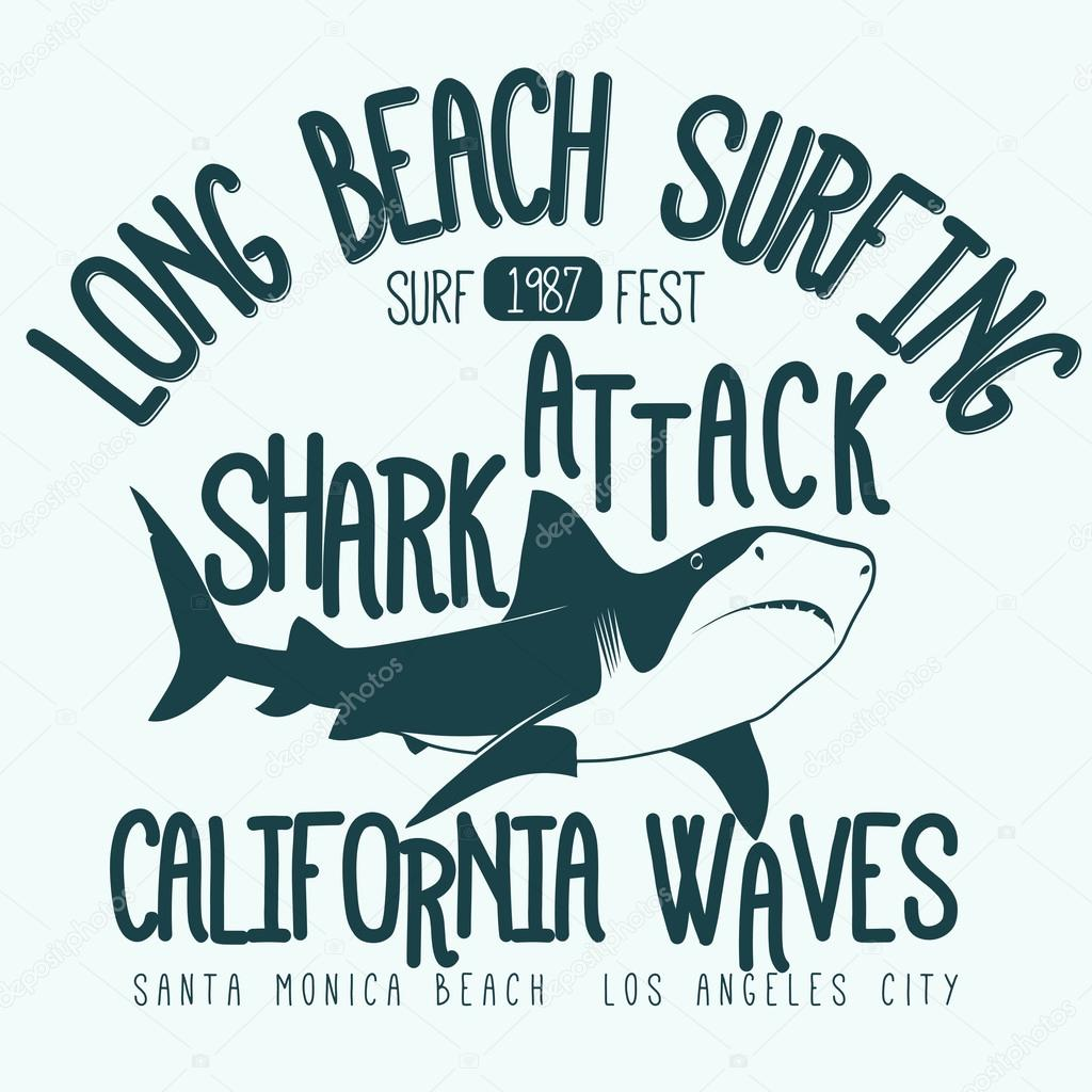 14ac81b47 Surfing t-shirt graphic design. Shark Attack Long Beach surfing stamp.  California surfers wear typography emblem. Creative design. Vector — Vector  by ...