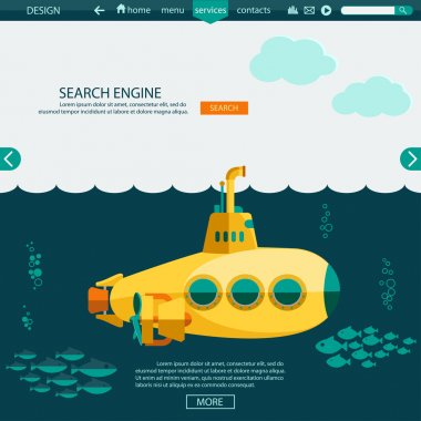 Submarine undersea. SEO website template