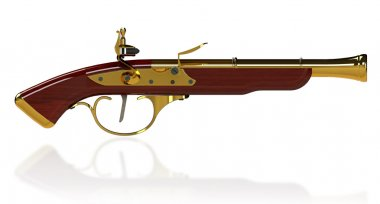 Vintage flintlock pistol, handgun, gun, weapon isolated on white background. 3D render stock vector