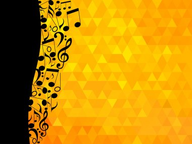 Musical notes and treble clef on a golden background