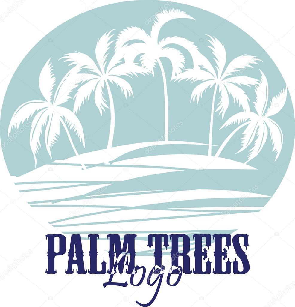 Palm trees on the Beach Logo. Silhouette - vector
