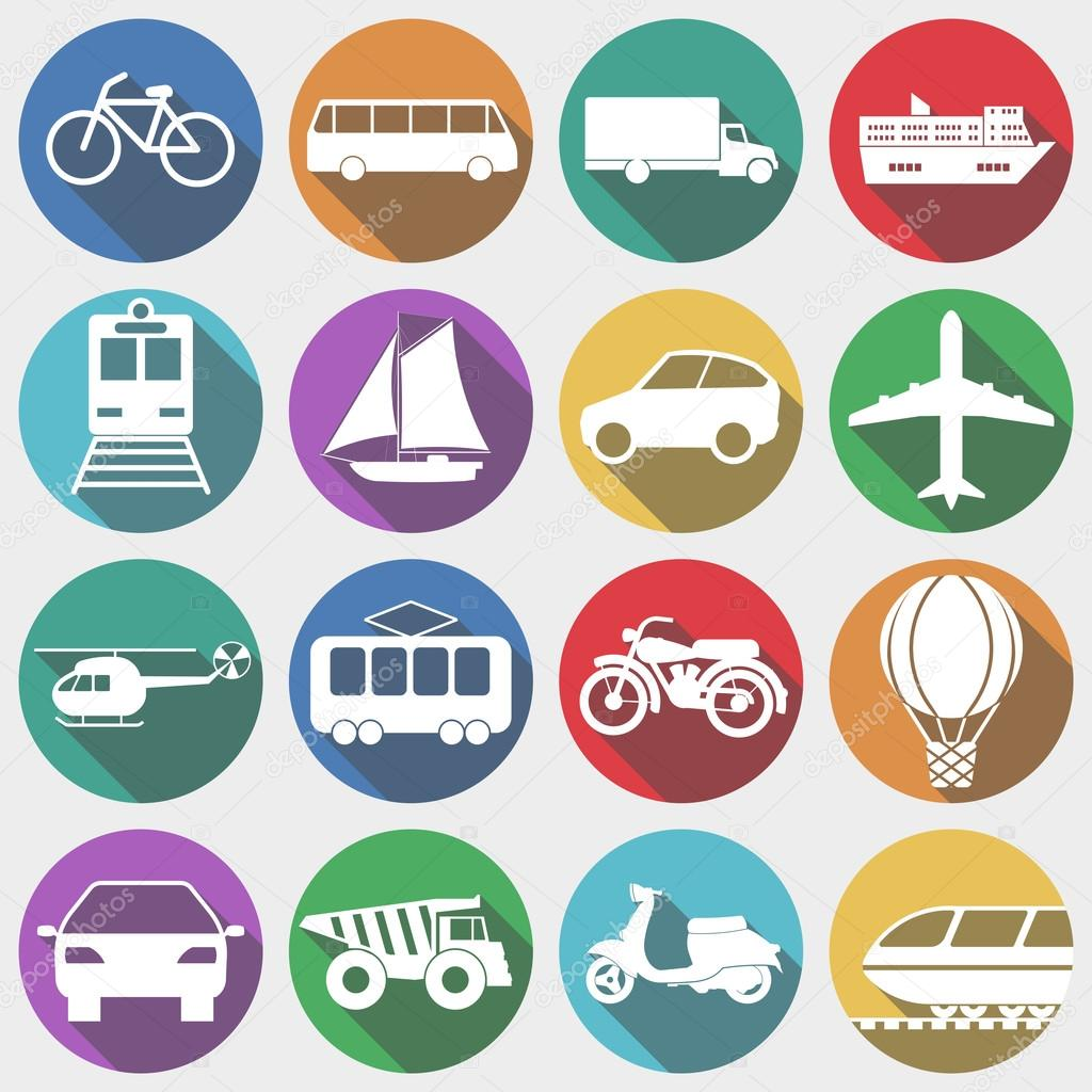 Icons Vehicles with Long Shadow, Transport. Vector illustration