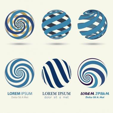 blue sphere logo, swirl symbol, spiral ball