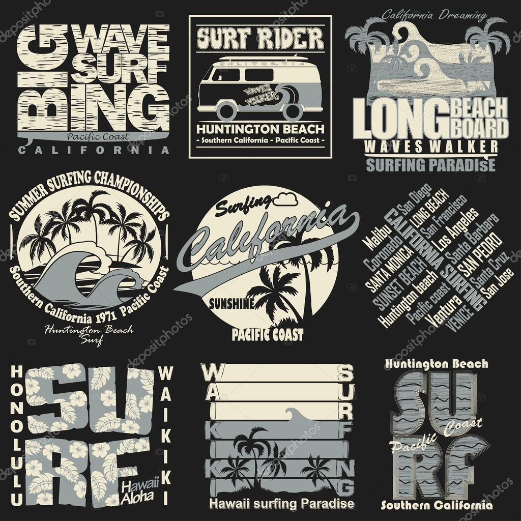 Surfing t-shirt graphic set