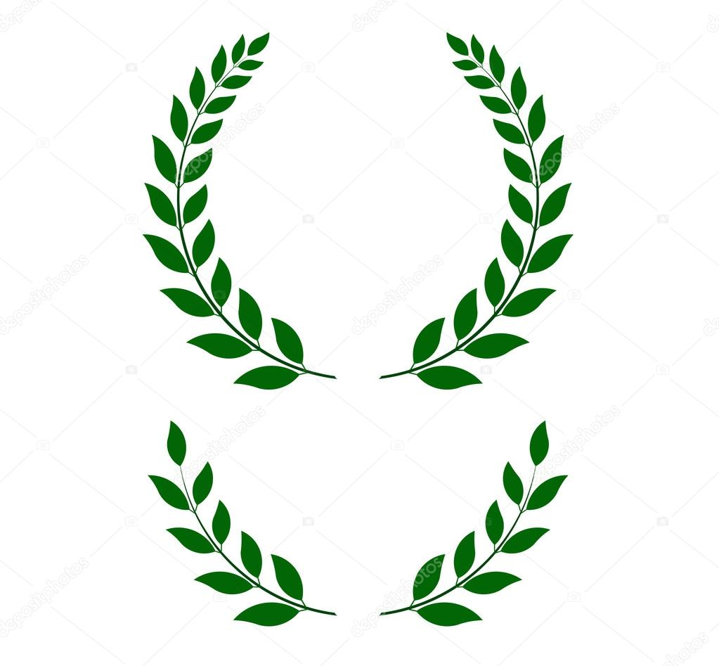 green laurel wreaths - vector illustration