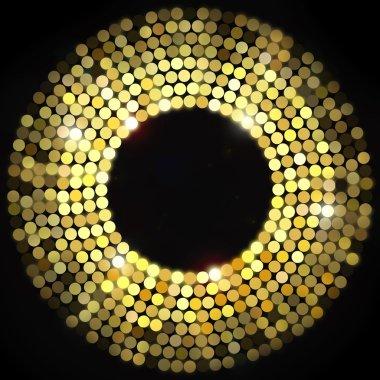 Golden disco lights frame