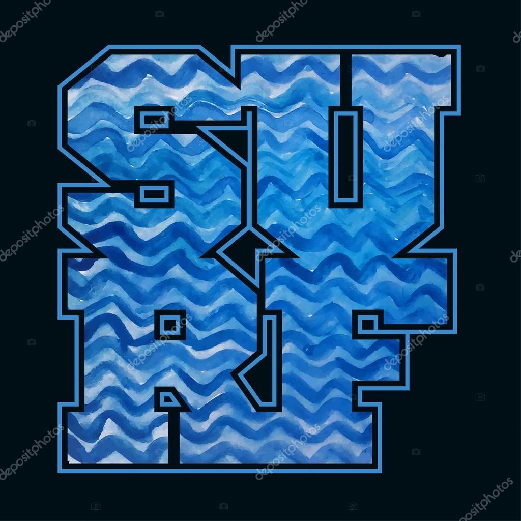Surfing emblem. T-shirt graphic print