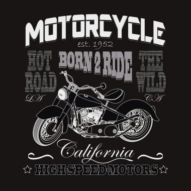 Motorcycle Racing Typography, California Motors. Bikers wear. ve