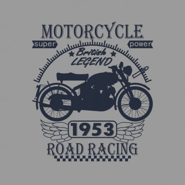 Motorcycle Racing Typography Graphics Label. T-shirt Design
