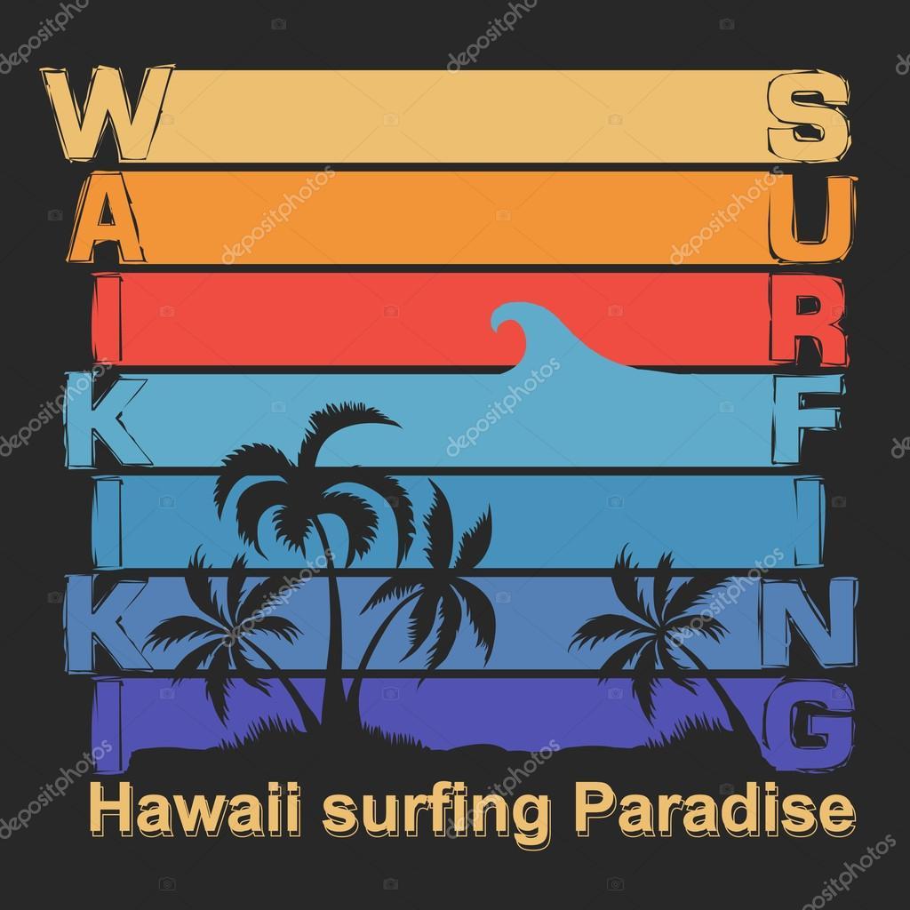 T shirt design hawaii - Surfing T Shirt Design Hawaii Surf Label Stock Photo 81692574