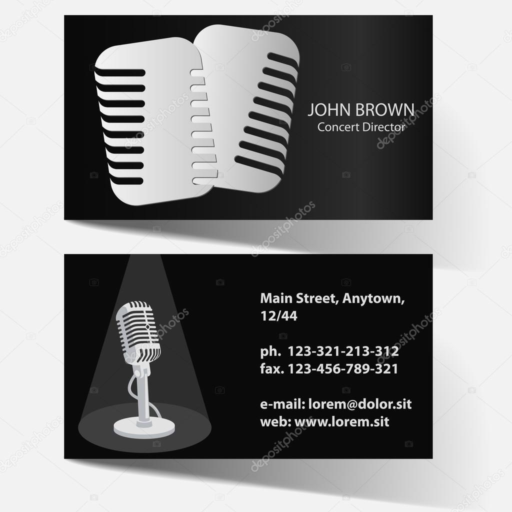 Carte De Visite Dartiste Avec Microphone Vintage Acteur Lanimateur Theatre Directeur Concert Vecteur Par Ambassador80