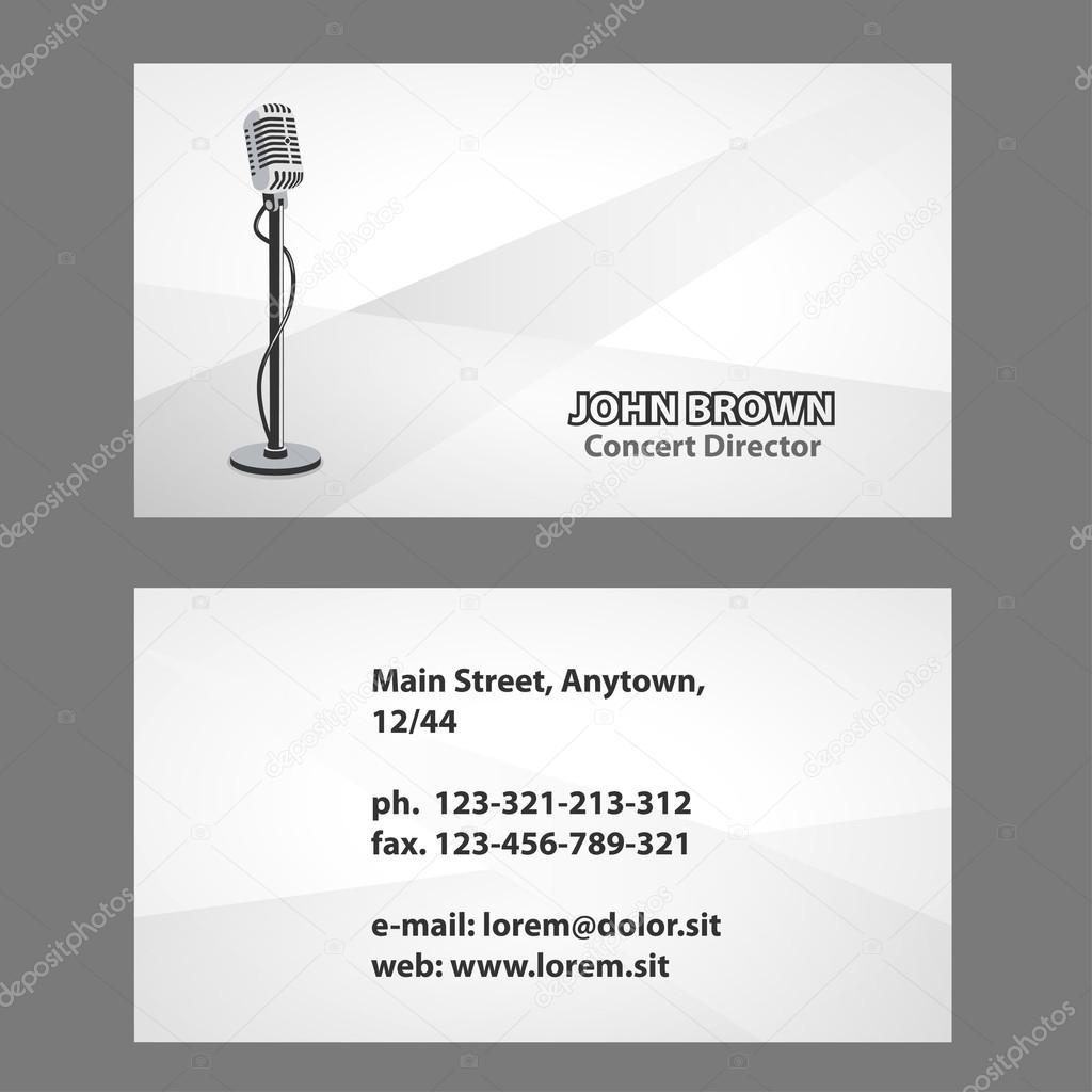 Biglietto Da Visita Con Microfono Vettoriali Stock