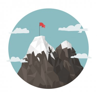Red flag on a Mountain peak, success