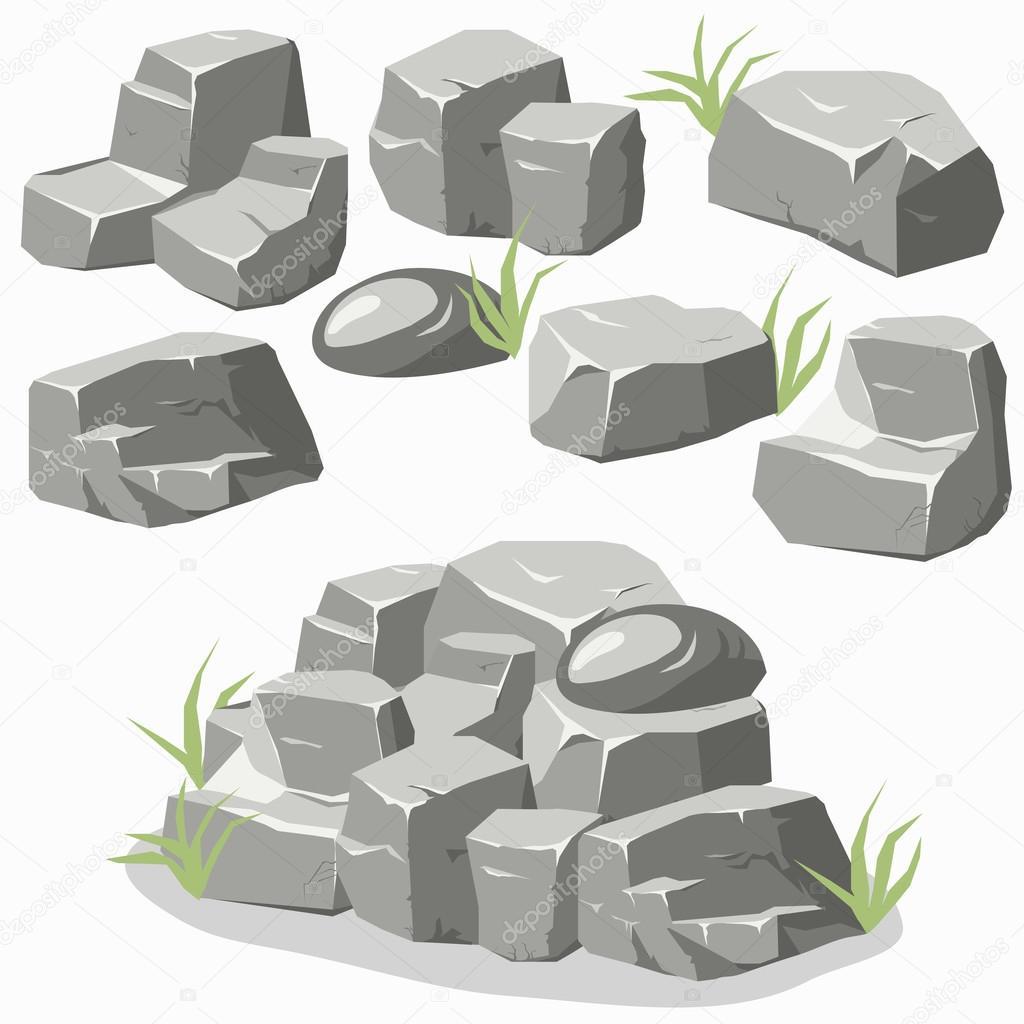 Rock stone set — Stock Vector © ambassador80 #98455950