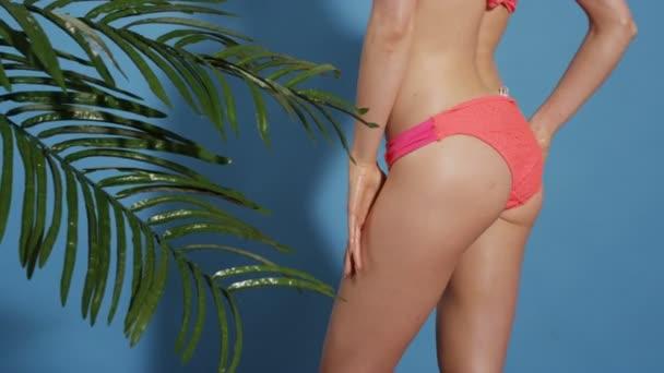 Irriconoscibile corpo di giovane donna che posa in bikini sopra priorità bassa blu.