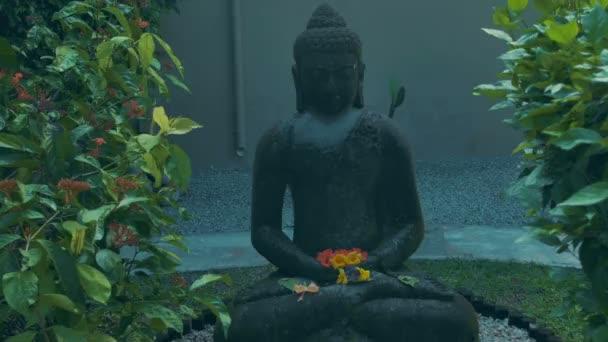 Gray stone buddha statue.