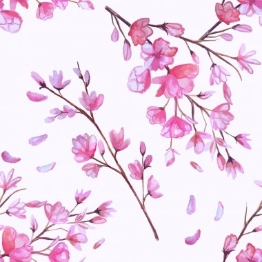 Watercolor cherry blossoming pink seamless pattern