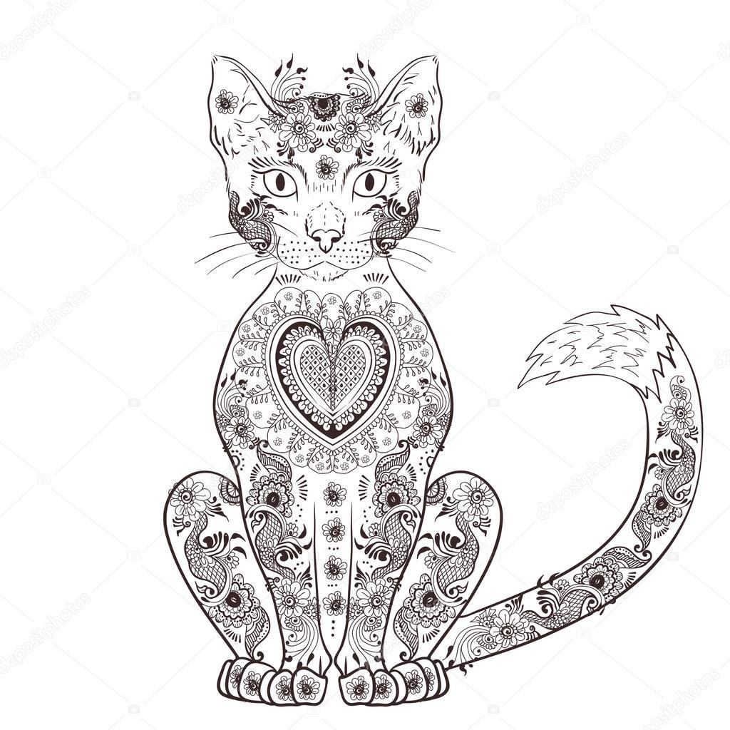 Gatto zentangle, gatto doodle, mehendi \u2014 Vettoriale Stock