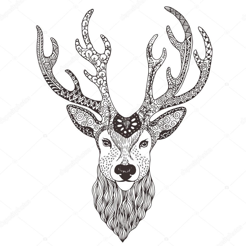deer head tattoo mehendi stock vector vector art 92760412. Black Bedroom Furniture Sets. Home Design Ideas