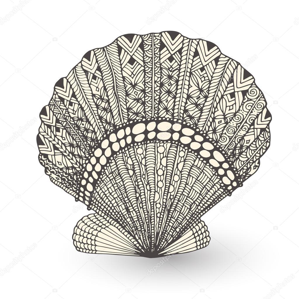 seashell zentangle mehendi