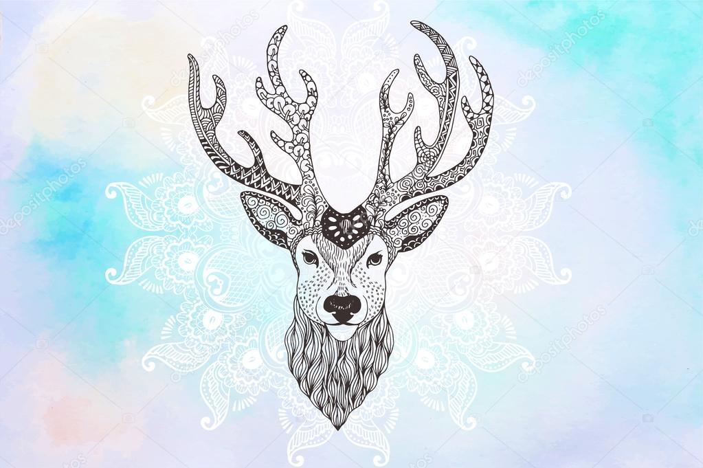 Tête De Cerf Tatouage Mehendi Image Vectorielle Vector Art 94091894