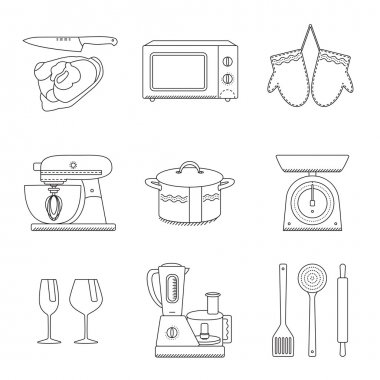 Set of clean line icons featuring various kitchen utensils and c