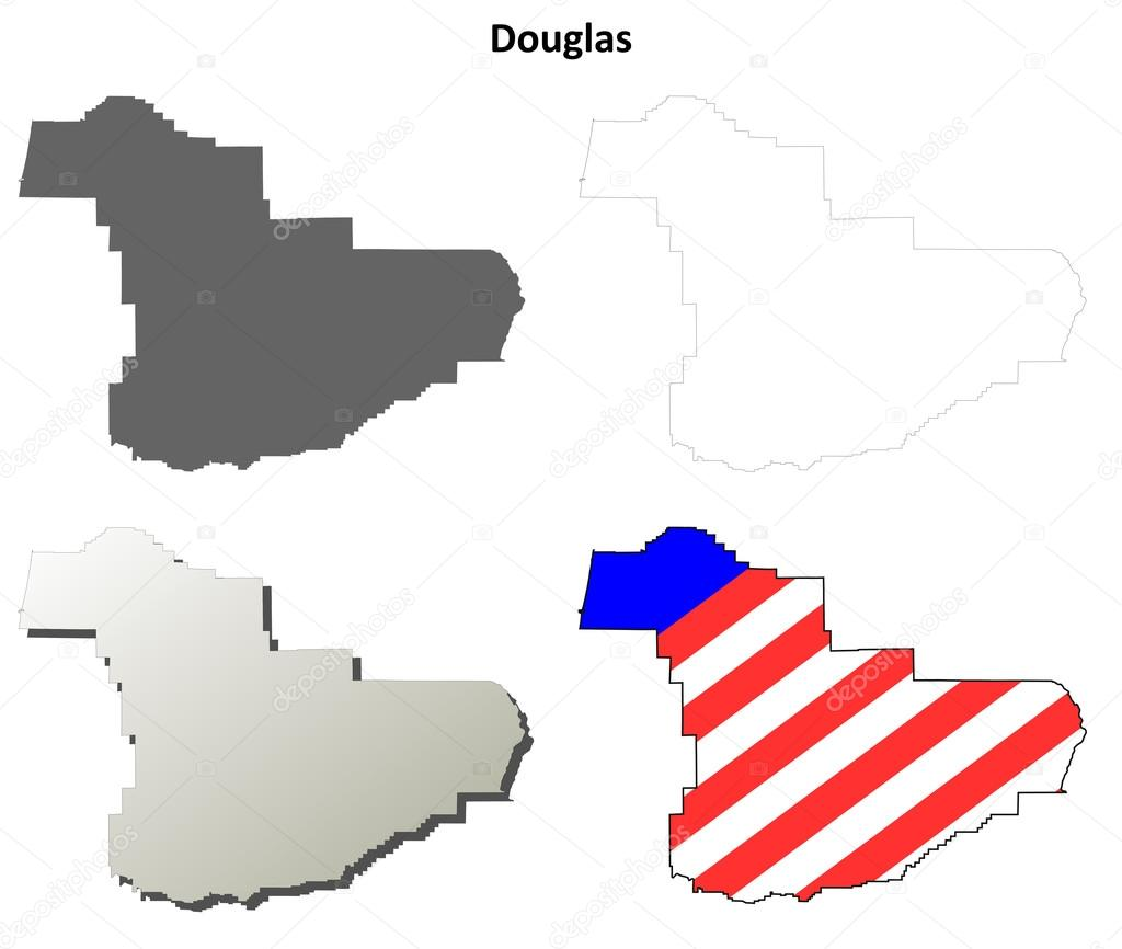 Douglas County Oregon outline map set Stock Vector davidzydd