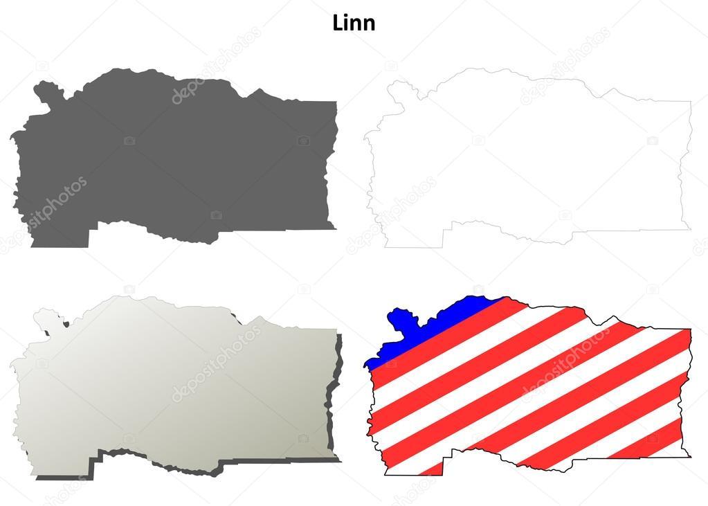 Linn County Oregon outline map set Stock Vector davidzydd