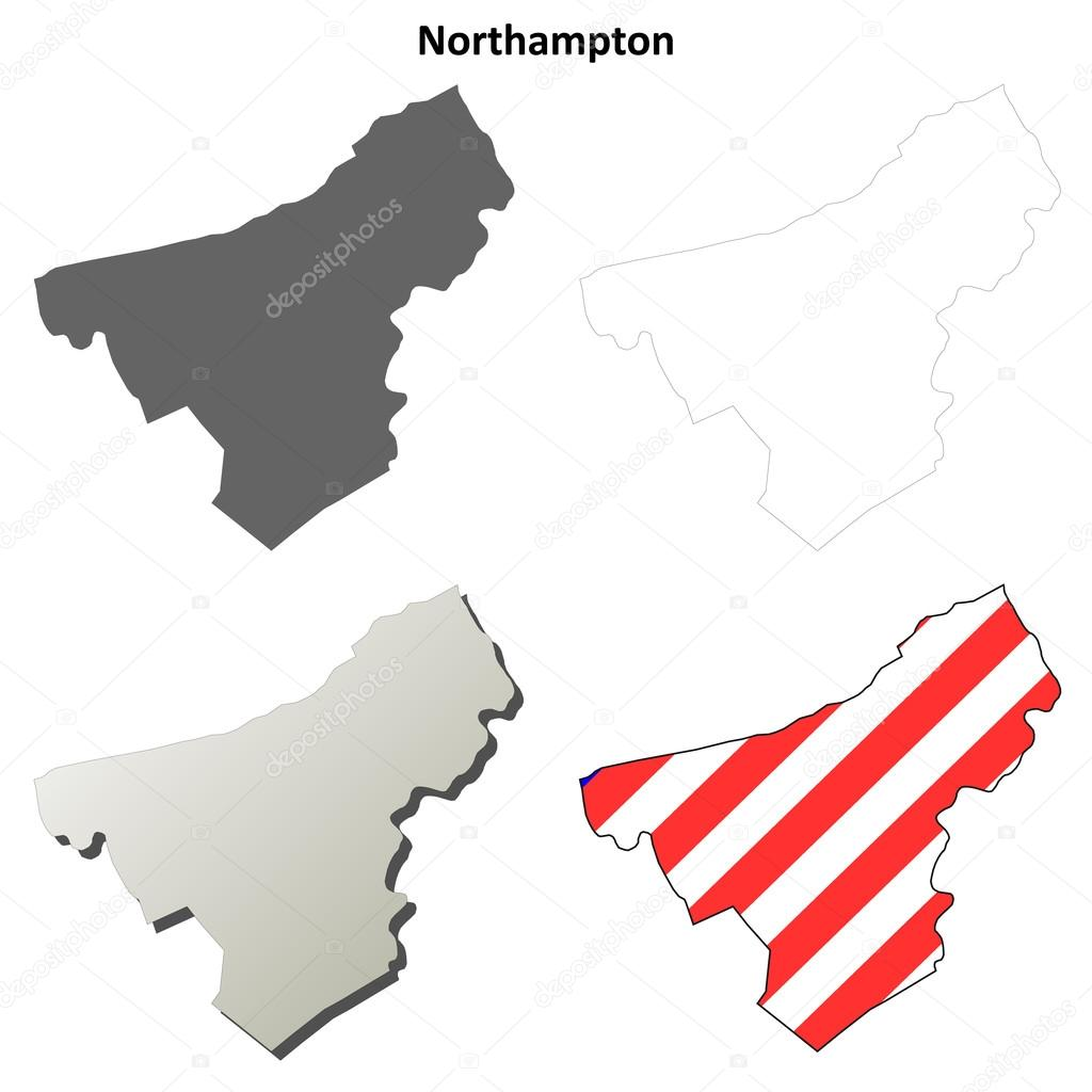 Northampton County Pennsylvania outline map set Stock Vector