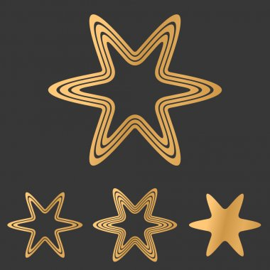 Bronze line star logo design set