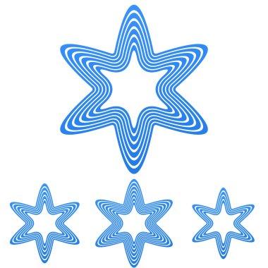 Blue line star logo design set