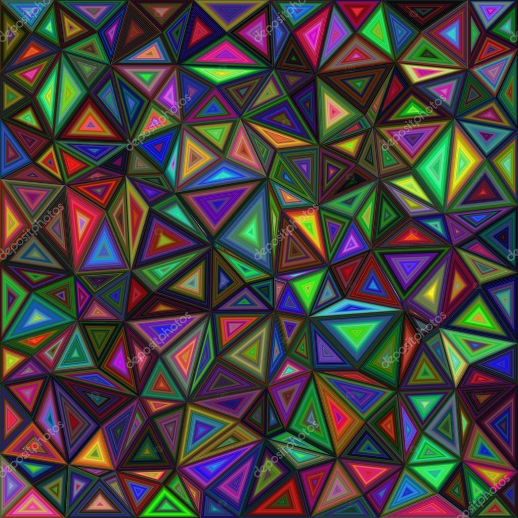 Diseño del fondo oscuro triángulo coloreado mosaico — Archivo ...