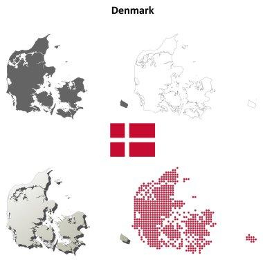 Denmark outline map set