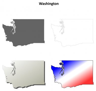 Washington outline map set