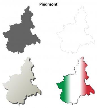 Piedmont outline map set