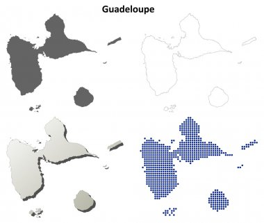 Guadeloupe detailed outline map set