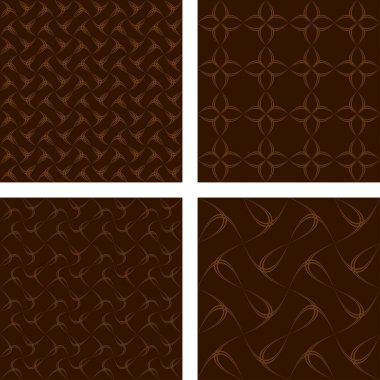 Brown seamless curve pattern wallpaper set