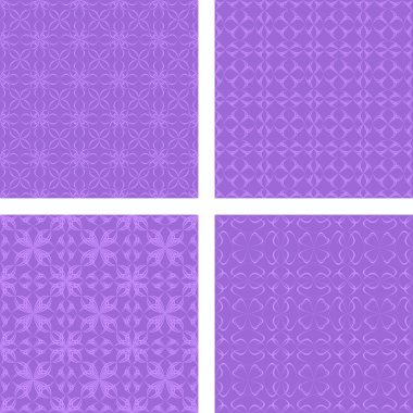 Purple seamless pattern set