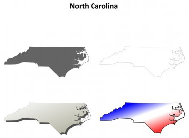North Carolina outline map set