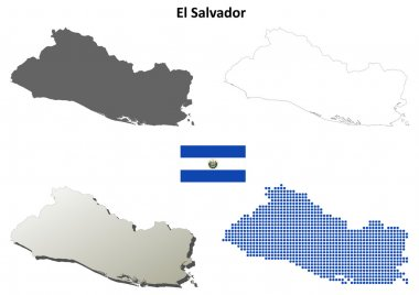 El Salvador blank detailed outline map set