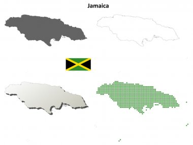 Jamaica outline map set