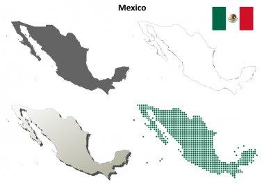 Mexico outline map set