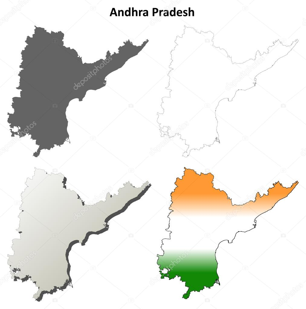 Andhra Pradesh outline map set — Stock Vector © davidzydd #53908477