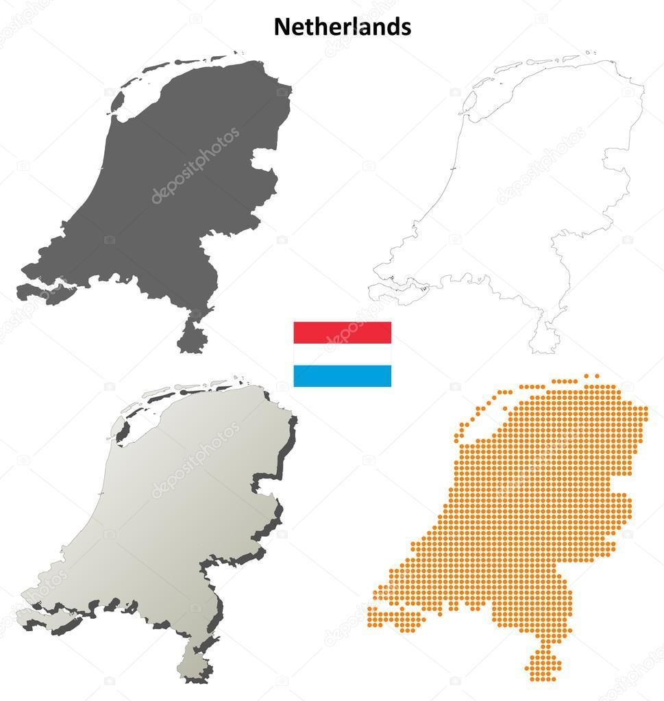 Niederlande Karte Umriss.Niederlande Umriss Karte Satz Stockvektor Davidzydd 53909285