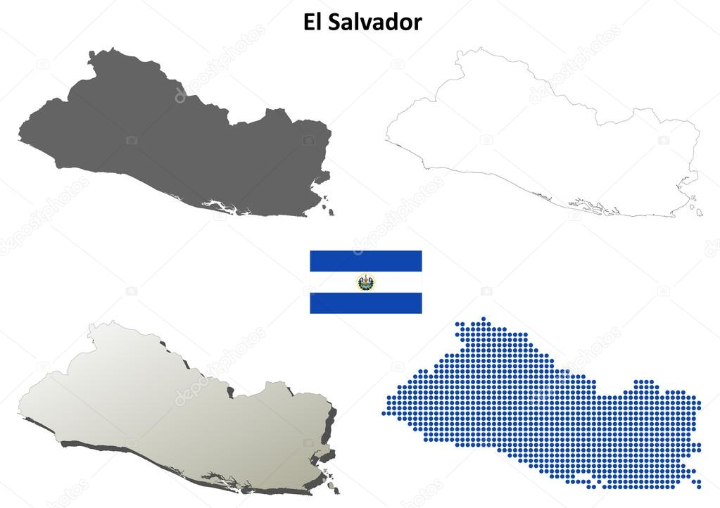 El Salvador blank detailed outline map set — Stock Vector ...