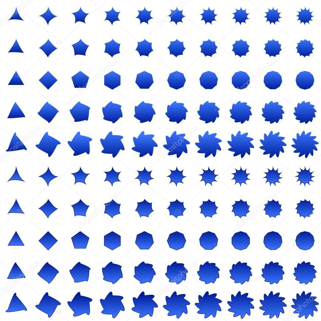 Collection De Forme Polygone Déformées Bleu Image Vectorielle