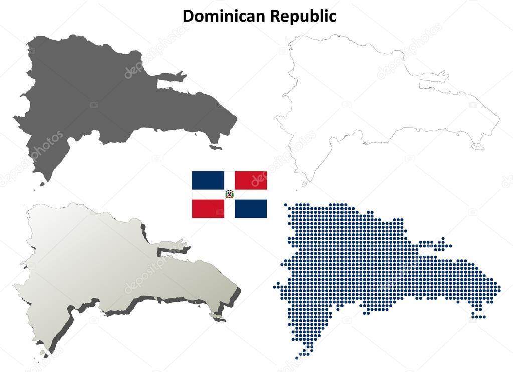 Mapa De Republica Dominicana En Blanco.Sistema De Mapa De Contorno De Republica Dominicana